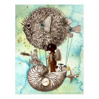 Steampunk Blowfish-Mobile Postkarte