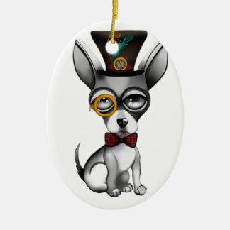 Steampunk Chihuahua-Kunst Ovales Keramik Ornament