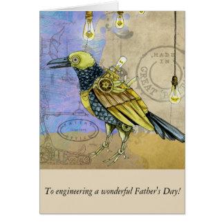 Steampunk der mechanische Vatertag Vogel-Technik- Karte
