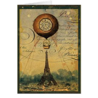 Steampunk Eiffelturm u. Heißluft-Ballon Karte
