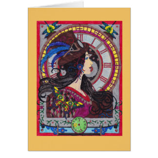 Steampunk Ermutigungs-Karte mit Uhr Karte