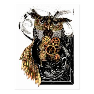 Steampunk Eule Postkarte