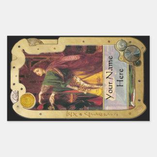 Steampunk ex Libris - Morgan-La-Fey Buchzeichen Rechteckiger Aufkleber