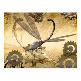 Steampunk, fantastische Dampflibellen mit Gängen Postkarte