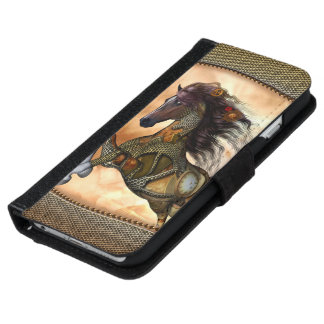 Steampunk, fantastisches steampunk Pferd iPhone 6/6s Geldbeutel Hülle