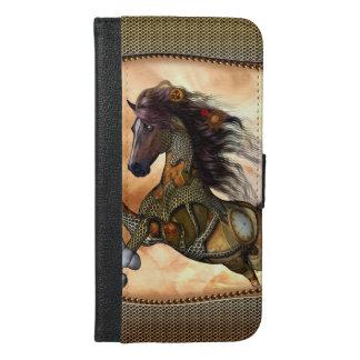 Steampunk, fantastisches steampunk Pferd iPhone 6/6s Plus Geldbeutel Hülle