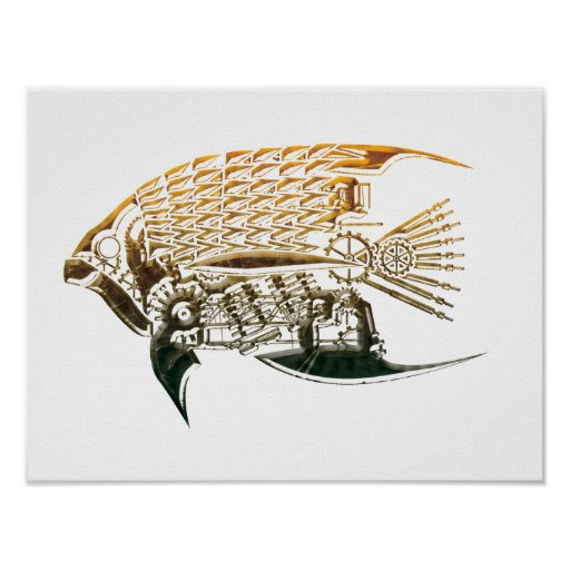 Steampunk Fischplakate Plakatdruck