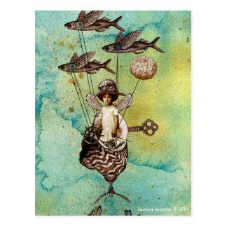 Steampunk fliegender Fisch Seaship Postkarte