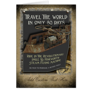 Steampunk Flugmaschine-Gruß-Karte Karte