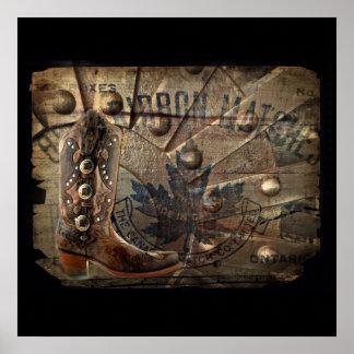 Steampunk Gang-Westernland-Cowboystiefel Poster