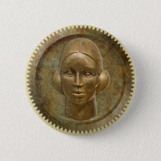 Steampunk goldene Metallgang-Göttin Runder Button 5,1 Cm