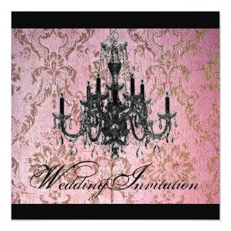 steampunk gotische Damast Leuchter-Hochzeit Karte