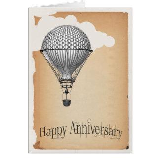 Steampunk Heißluft-Ballon-Hochzeitstag Karte
