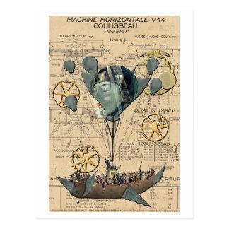 Steampunk Heißluft-Ballon-Schiff Postkarte