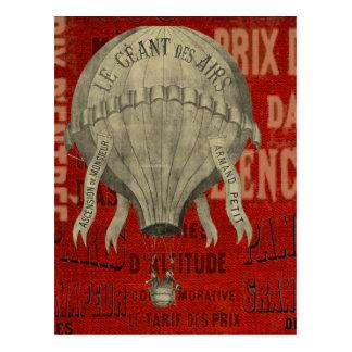 Steampunk Heißluftballon-Fahrgraphik-Schriftart Postkarte