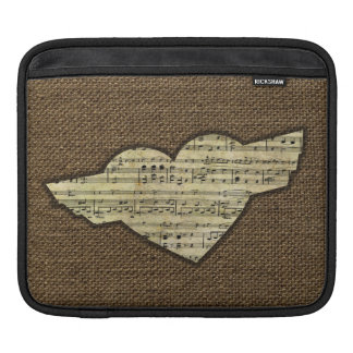 Steampunk Herz Wings viktorianisches Musik-Blatt iPad Sleeve