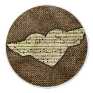 Steampunk Herz Wings viktorianisches Musik-Blatt Keramikknauf
