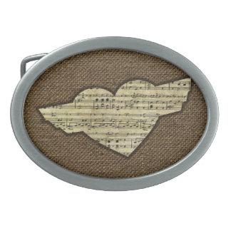 Steampunk Herz Wings viktorianisches Musik-Blatt Ovale Gürtelschnalle