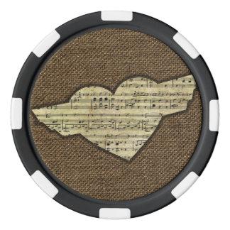 Steampunk Herz Wings viktorianisches Musik-Blatt Poker Chips Set