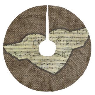 Steampunk Herz Wings viktorianisches Musik-Blatt Polyester Weihnachtsbaumdecke