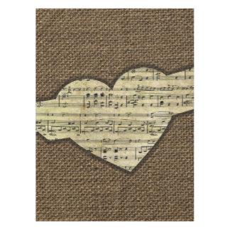 Steampunk Herz Wings viktorianisches Musik-Blatt Tischdecke