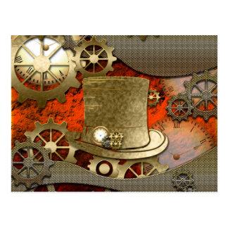 Steampunk Hexehutuhren und -gänge Postkarte