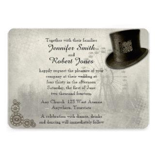 Steampunk Karnevals-Zylinder-Hochzeits-Einladung