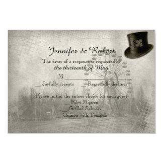 Steampunk Karnevals-Zylinder-Hochzeits-Wartekarte 8,9 X 12,7 Cm Einladungskarte