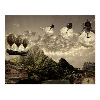 steampunk Landschaftspostkarte Postkarte