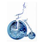 Steampunk Mann auf blauem weißem Neon des Postkarte