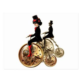 Steampunk Mannfrauenpenny-Farthinggeschenke durch Postkarte