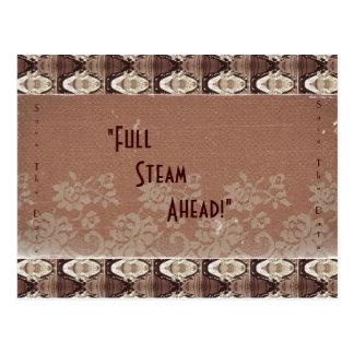 Steampunk Messing u. Spitze, Save the Date Postkarte