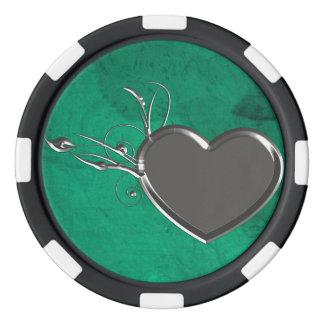 Steampunk Metallherz Poker Chip Set