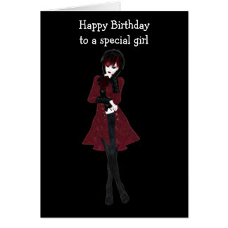 Steampunk Modemädchen in den schwarzen Hosen und Grußkarten