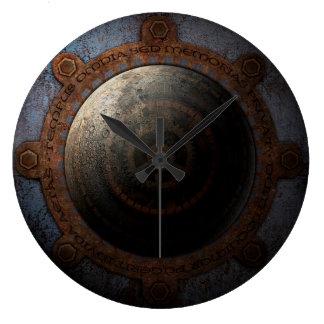 Steampunk Mond-Uhr-Zeit-Metallgänge Große Wanduhr