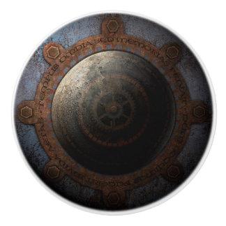 Steampunk Mond-Uhr-Zeit-Metallgänge Keramikknauf