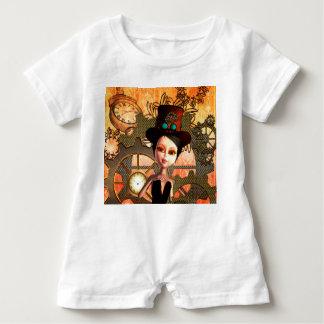 Steampunk, niedliches Mädchen mit steampunk Hut, Baby Strampler