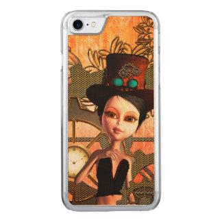 Steampunk, niedliches Mädchen mit steampunk Hut Carved iPhone 8/7 Hülle