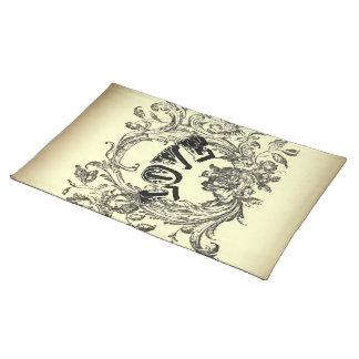 steampunk Pastellgelb blühen den viktorianischen Tischset