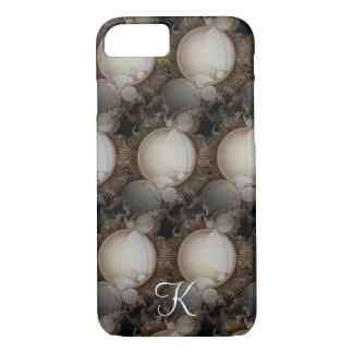 Steampunk Perlen auf schwarzem Monogramm iPhone 7 Hülle