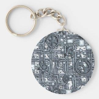 Steampunk Platte - Gänge und Rohre - Stahl Schlüsselanhänger