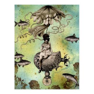Steampunk Quallen Postkarte