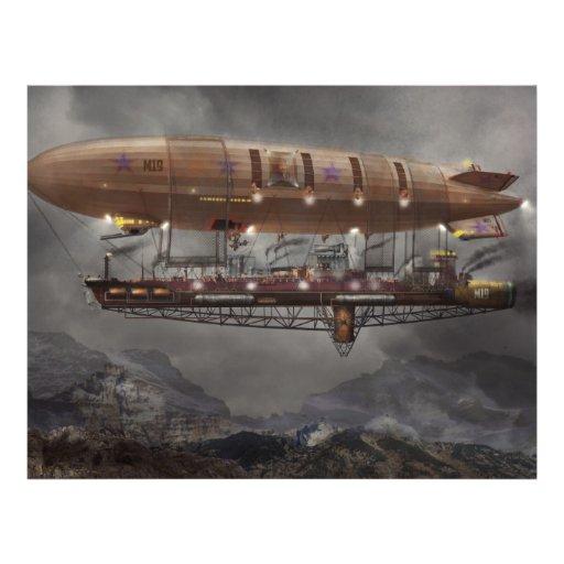 Steampunk - schalldichte Zelle - Luftschiff Maximu Flyer Druck