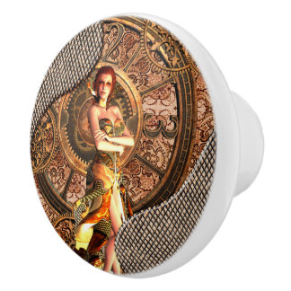 Steampunk, schöne Dampffrauen Keramikknauf