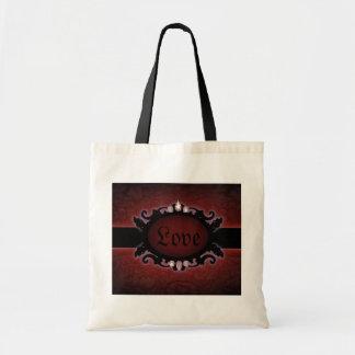 steampunk schwarzes und rotes gotisches Monogramm Tragetasche