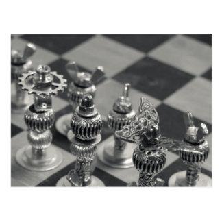 Steampunk silberne Schach-Zahl Stücke Postkarte
