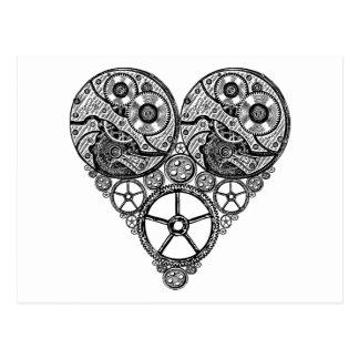 Steampunk Uhr-Arbeiten und Gang-Herz Postkarten