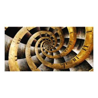 Steampunk - Uhr - der Fluss der Zeit Photo Karten Vorlage