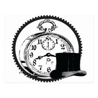 steampunk Uhr, Gang, Hut Postkarte