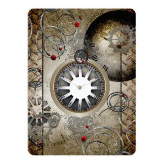 Steampunk, Uhren und Gänge 14 X 19,5 Cm Einladungskarte